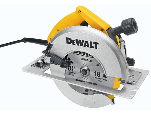 1. DeWALT DW384 8-1/4-Inch Circular Saw with Brake and Rear Pivot Depth of Cut Adjustment