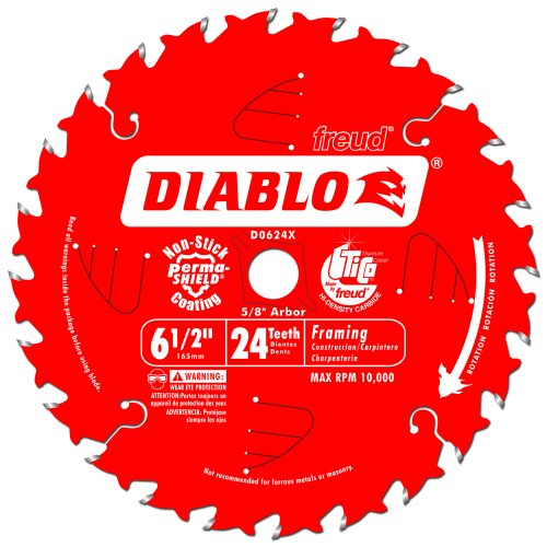 Freud D0624x Diablo 6 1 2 Inch 24 Tooth Atb Framing Saw